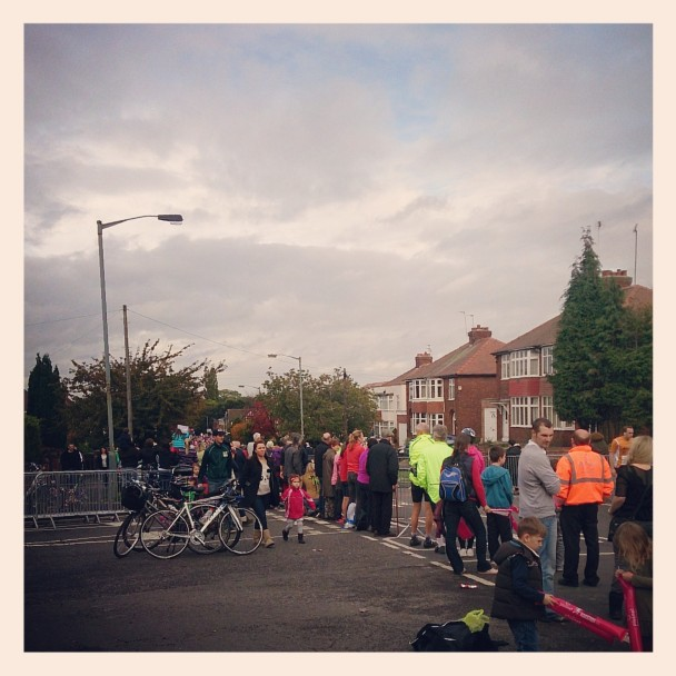 Last leg of the York Marathon up the hill towards University.