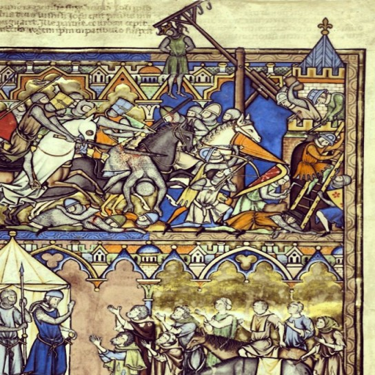 An amazing page from the Morgan Picture Book that we look at last week. It depicts the Conquest of Hai. (MS M.638 (fol. 10v) – Conquest of Hai)