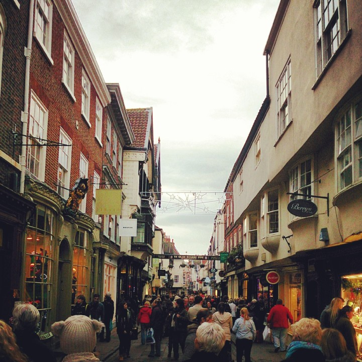 Christmas shoppers in York.