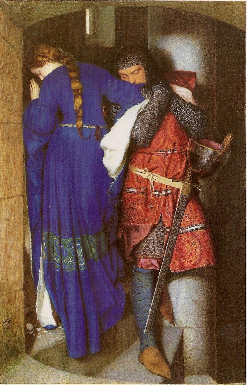 The Meeting on Turret Stairs, Frederick William Burton, Watercolour, 1864