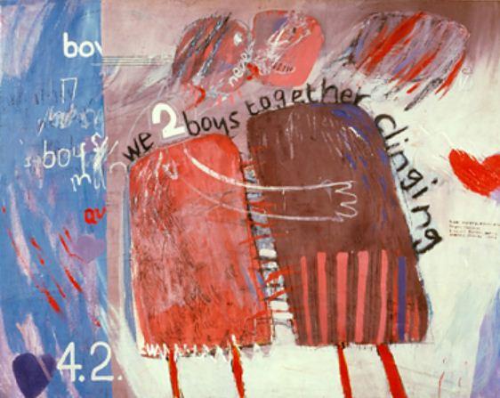 We Two Boys Together Clinging, David Hockney, Oil on board, 1961