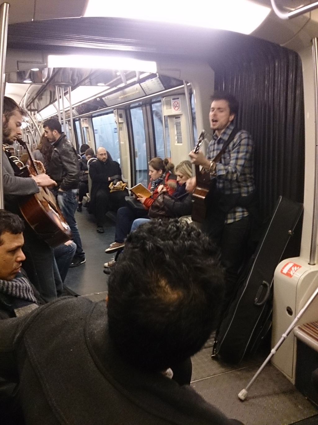 Some awesome buskers on the Metro