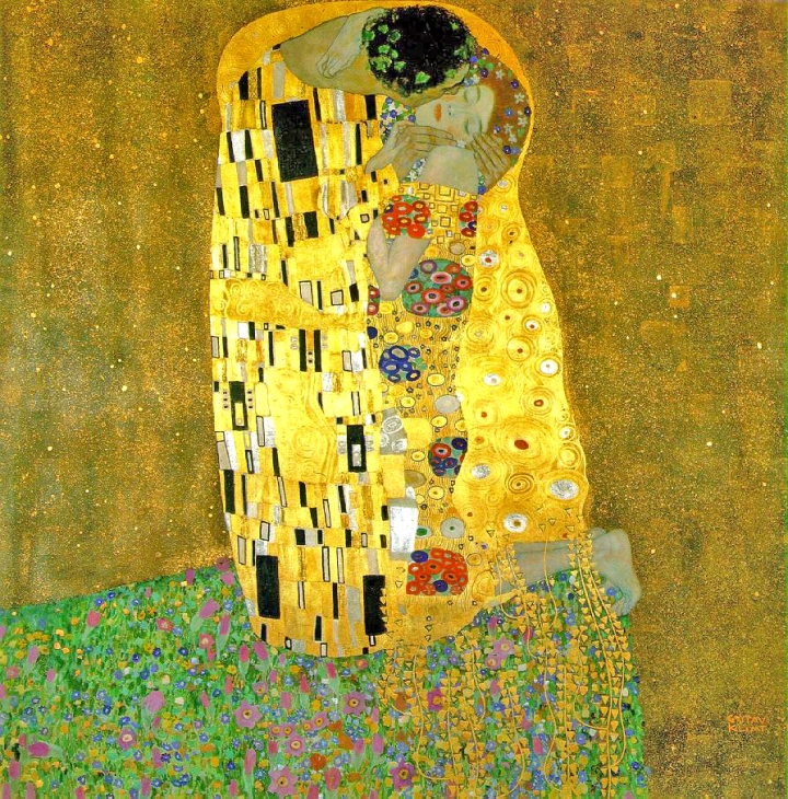 The Kiss, Gustav Klimt, Oil and gold leaf on canvas, 1907-1908