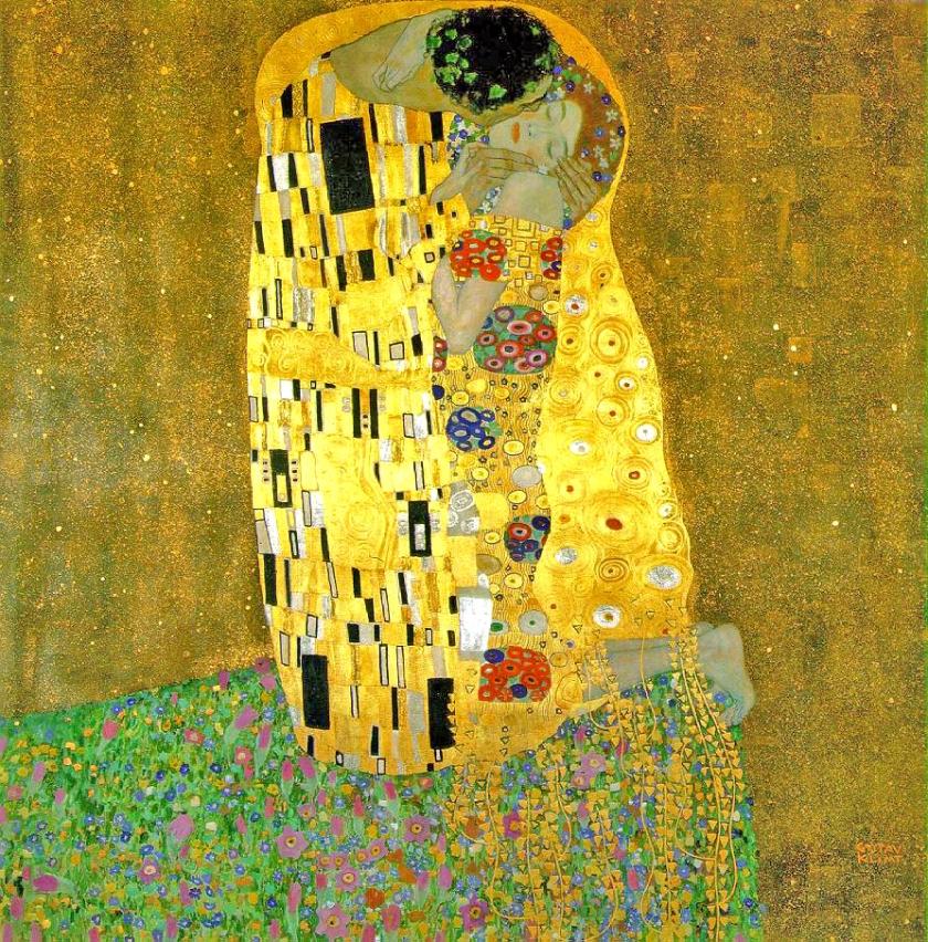 The Kiss, Gustav Klimt, Oil and gold leaf on canvas, 1907-1908