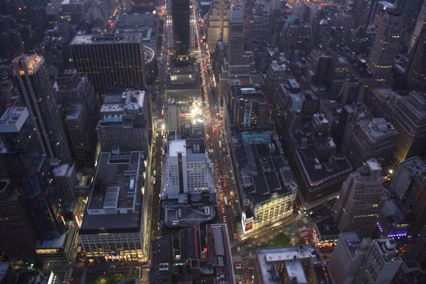 A view of below from the Empire State Building