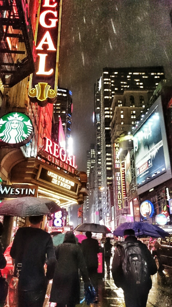 A rainy night in Times Square