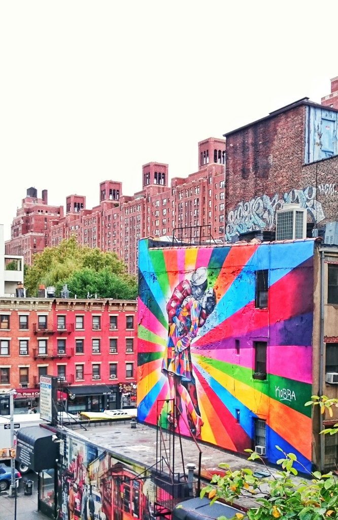 Amazing artwork on the side of a building seen on our walk on the High Line