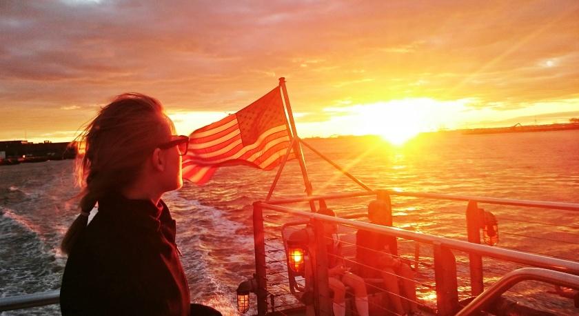 Watching the sun set on New York
