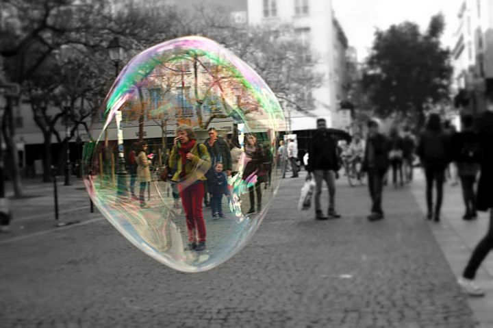 A woman stuck in a bubble, hope she got out in the end...