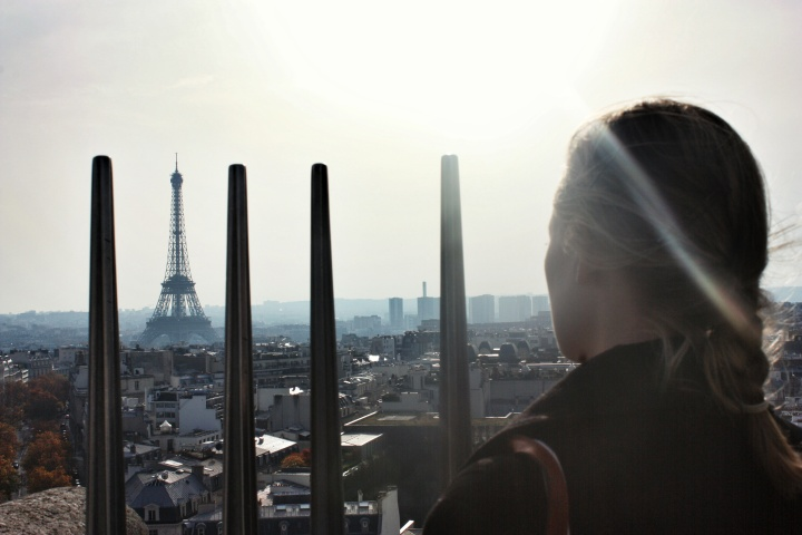 Taking in the breathtaking views onto of the Arc de Triomphe