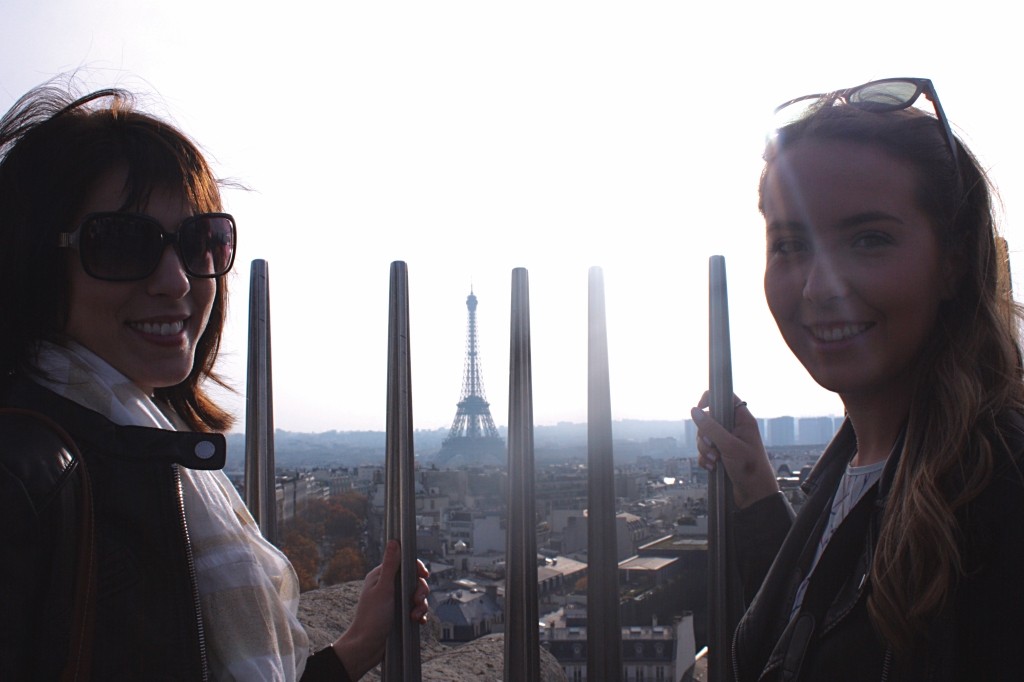 Laura and Kate on the Taking in the breathtaking views onto of the Arc de Triomphe