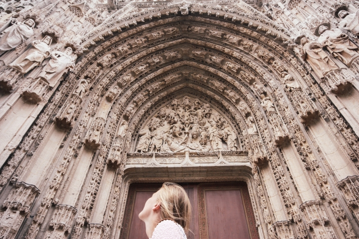 Roisin and the facade of Rouen Cathedral, France