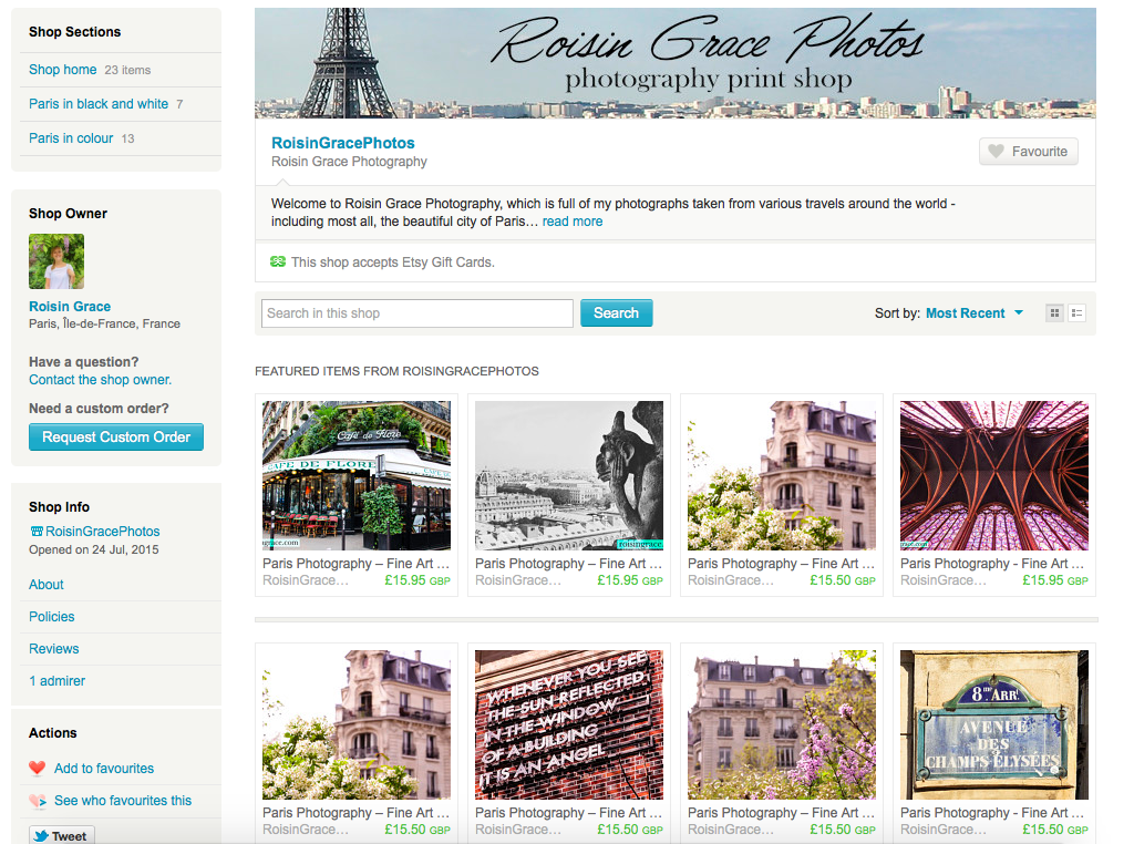 Roisin Grace Photography Print shop on Etsy, Photo Prints of Paris make perfect gifts
