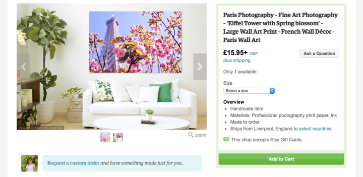 Example of Roisin Grace Photos on Etsy - Paris, Eiffel Tower with Blossom Photo Print