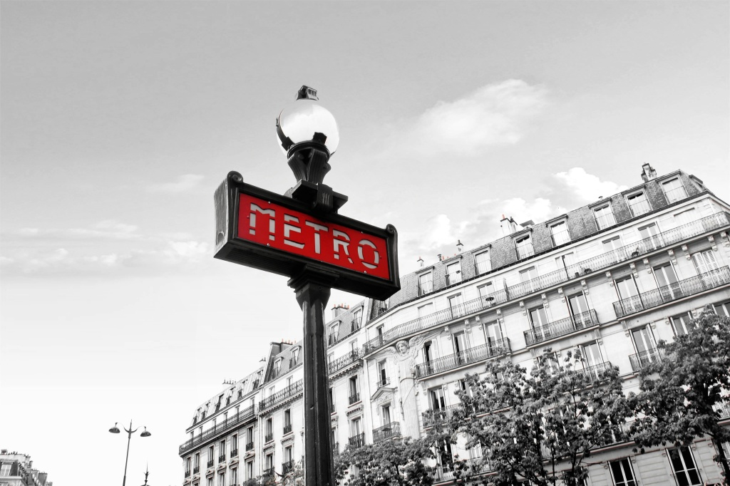 Paris Metro sign, black and white