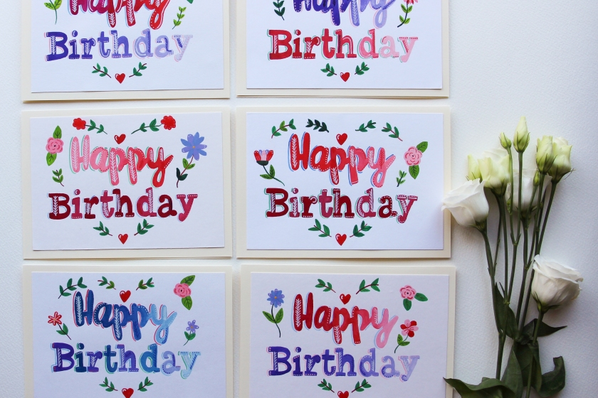 hand painted bespoke original happy birthday greeting cards - on etsy